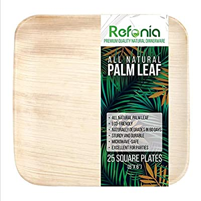 Refonia All Natural Palm Leaf Bamboo Plates Disposable - 25 count - 100% Compostable & Biodegradable, BPA Free - Excellent for Parties & Wedding