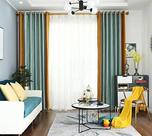 "PROSPEROSE {Unique Color Combination} Dual Coloured Thick Thermal Holland Velvet, Blackout Machine-Washable Curtain (Sky Blue & Dijon Yellow, 52"" W x 90"" L, 1 Panel)"