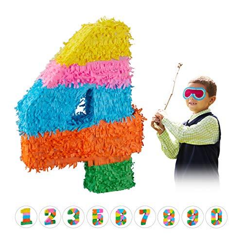 Relaxdays 10025189_906 Pinata Geburtstag, Zahl 4, zum Aufhängen, Kinder & Erwachsene, Papier, zum selbst Befüllen, Piñata, bunt