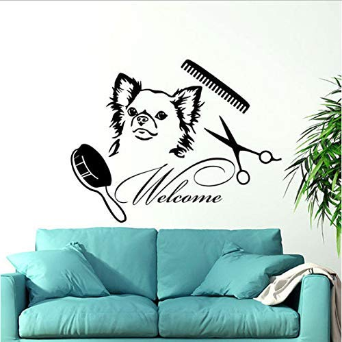 Welkom in de schoonheidssalon, vinyl muurstickers, decoratie voor huis, hond, huisdieren, dieren, tattoos, wanddesign, interieurdecoratie, raamdecoratie, 74 x 57 cm