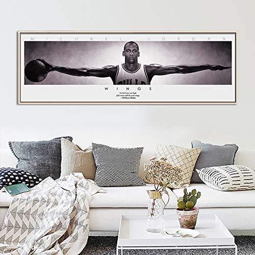 Moderno póster de baloncesto de la NBA Super Star Palyer Kobe Bryant Michael Jordan, diseño de alas de la NBA