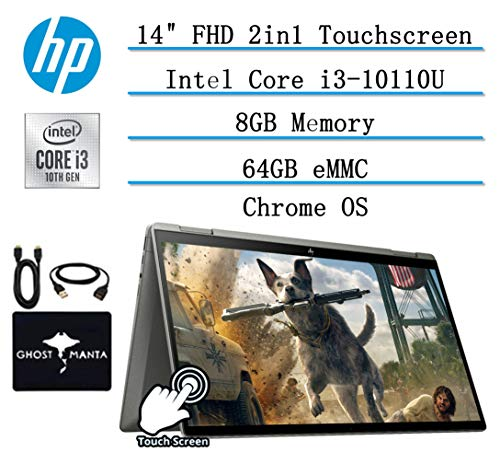 "2020 Newest HP 2-in-1 Chromebook 14"" FHD Touchscreen Laptop for Business and Student, Intel Core i3-10110U (Beat i5-7200U), 8GB RAM, 64GB eMMC, Backlit-KB, Fast Charge, Chrome OS, w/GM Accessories"