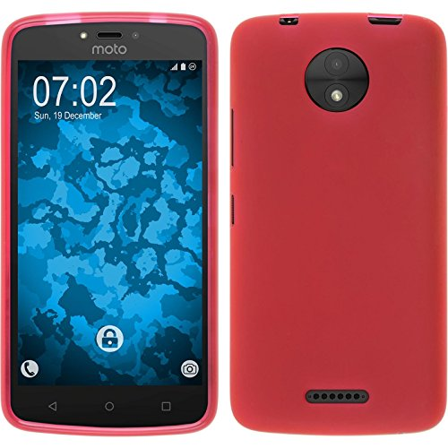 PhoneNatic Case kompatibel mit Lenovo Moto C Plus - rot Silikon Hülle matt + 2 Schutzfolien