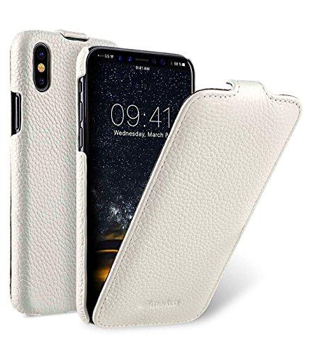 Edle Tasche für Apple iPhone XS & iPhone X / Hülle Außenseite aus beschichtetem Leder / Schutz-Hülle aufklappbar / Flip-Hülle / Etui / ultra-slim / Cover Innenseite aus Textil / Weiß