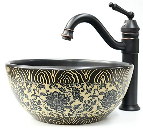 Keramik-Waschbecken mit Blumenmuster, Vintage-Stil