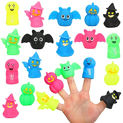 VOMAOK 20pcs Halloween Squishy Finger Puppets Stress Relief Toys Fidget Toys for Kids Boys Girls...