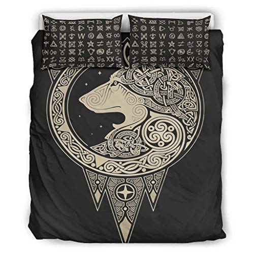Hanebar Laickter Juego de colcha de lobo vikingo ligero, 1 funda de edredón y 2 fundas de almohada para dormitorio de niñas, blanco 66 x 90 pulgadas