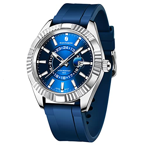 SAPPHERO Relojes para Hombres 100M Impermeable Minimalista Reloj analógico para Hombres de Pulsera de Vestir clásicos para Hombres Relojes Deportivos para Hombres de Negocios con Correa de Silicona