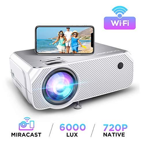 Proyector WiFi, Soporte Full HD 1080P, BOMAKER 6000 Lúmenes Resolución Nativa 720P Inalámbrico Mini Cine en Casa Portátil, Presentación en Casa, HDMI/USB/VGA/AV/Micro SD