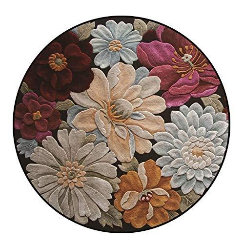 Alfombras Redondas Vendimia Flor Estereo 3D Terciopelo Suave para Sala Habitación Alfombra del Piso Decoración del Hogar Fácil De Limpiar (Size : Diametre:160cm)