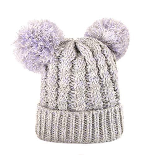 Susenstone Bonnet Bebe Fille Hiver Chaud Pompom 1-8 Ans Tricot Crochet Chapeau Fille Garcon Enfant Pas Cher Mode Cartoon Mignon Bonnet Pompom