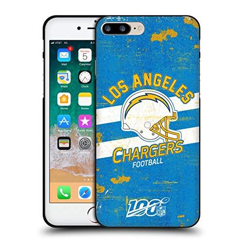 Head Case Designs Licenciado Oficialmente NFL Casco Distressed Look 100th Los Angeles Chargers Logo Art Funda de Gel Negro Compatible con Apple iPhone 7 Plus/iPhone 8 Plus