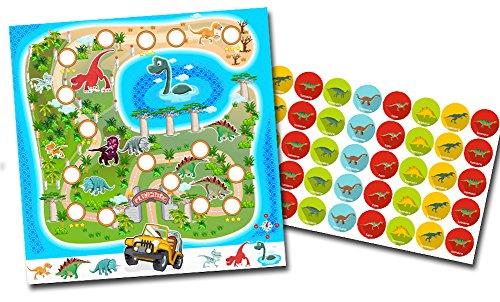 By Diana Belohnungssystem für Kinder Motiv Dinosaurier - 2 doppelseitige Blätter + Aufkleber