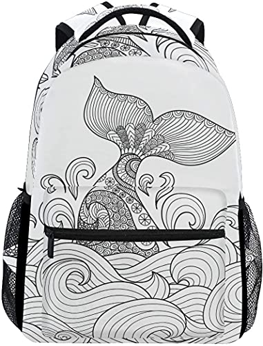 School College Backpack Rucksack Travel Bookbag Outdoor Whale Tail
