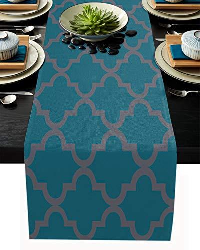 FAMILYDECOR Camino de mesa de arpillera de lino, bufandas de 35 x 182 cm, diseño de azulejos geométricos, caminos de mesa para fiestas de vacaciones, comedor, cocina, decoración de boda
