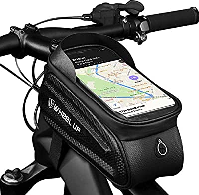 STAHMFOVER Bike Phone Bag with Touch Screen Bicycle Waterproof Front Frame Bag Large Capacity Bike Handlebar Storage Bag, Outdoor Riding Accessories for Road & Mountain Bike, Black