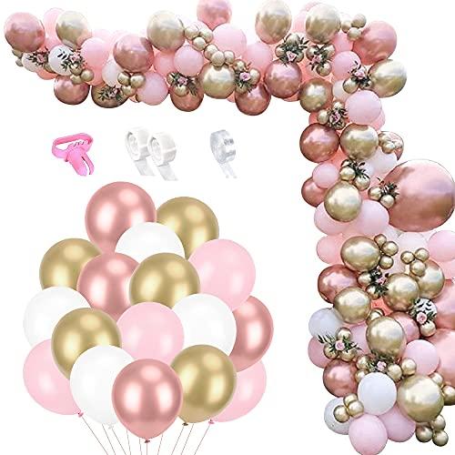 Kit Arco Palloncini Rosa Oro, 123 Pezzi Ghirlanda Palloncini Bianchi Rosa Oro Rosa Oro con Nastro Palloncino Strumenti per Annodare, Adatto per Compleanno Festa Matrimonio Baby Shower Anniversario