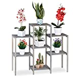 Relaxdays Soporte Plantas Shabby Chic, Estantería Interior para Flores, Madera, 86 x 95 x 29 cm, Gris