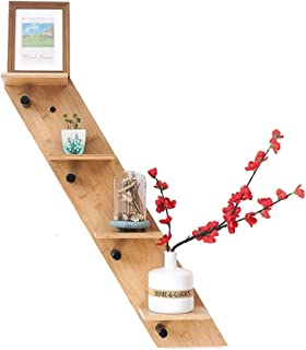 Support de Stockage de cloison de Mur de Bambou Crochets de Tablette stratifiés par Bois Solide pour la Peinture à Base d'...