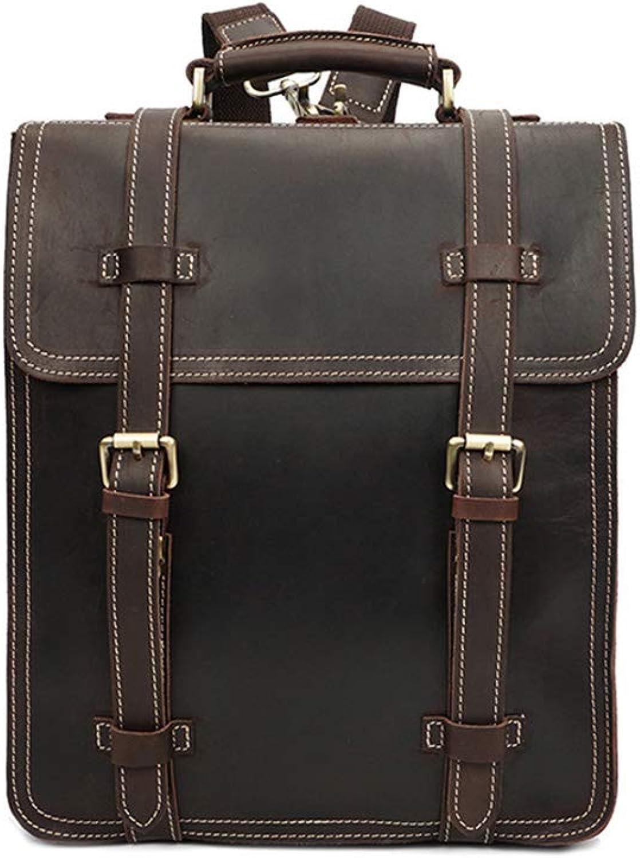 Yzibei portable Multi-layer Men's Leather Backpack Large Capacity Waterproof Laptop Travel Bag Casual Handbag