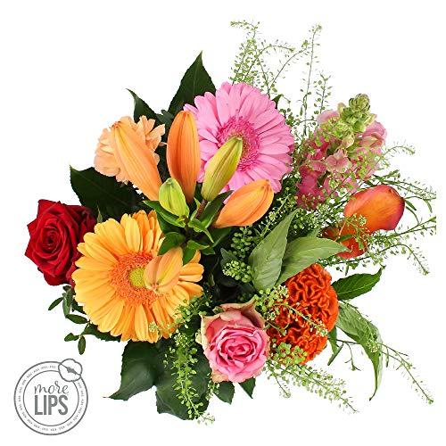 MoreLIPS handgebundener Blumenstrauß Mirjam - Your Green Present - Dieser Blumenstrauß enthält -Anthirrhinum - Calla - Celosia - Lelie - Rosa Blumen VERSANDKOSTENFREI Blumenversand