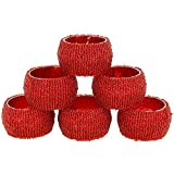 Set of 6 Red Beaded Table Decoration Napkin Rings - Perfect for Parties by ShalinIndia