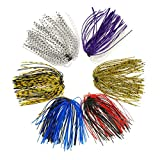 Croch 24 Bundles Silicone Jig Skirts DIY for Rubber Fishing Bass Jig Lures 50 Strands Fishing Bait...