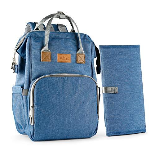 Amzdeal Wickelrucksack, Große Wickeltasche mit Wickelunterlage, multifunktionaler Babytasche Reiserucksack für Mama und Papa, Unisex und wasserdicht