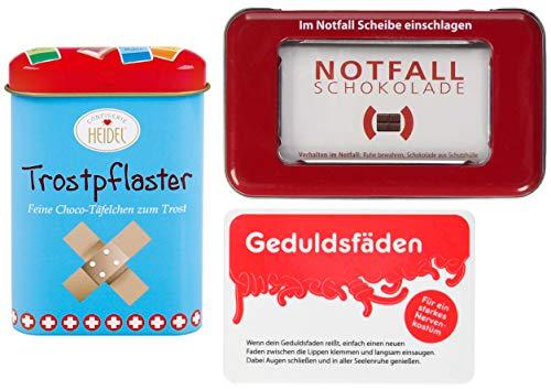 Trost-Set   Geschenk-Set   Notfall-Paket   Seelentröster   Schokolade und Fruchtgummi   Trostpflaster   Notfallschokolade   Geduldsfäden