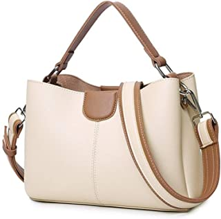 Vioaplem Fashion PU Leather Shopping Tote Bag Shoulder Messenger Travel Beach Bucket Handbag For Women (Color : Beige)