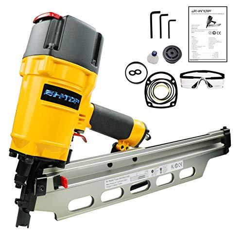 BHTOP 9021 Framing Nailer 21 Degree 3-1/2' Air Nailer with Depth Adjustment Professional Air Nail Gun With Extra Hook In Orange