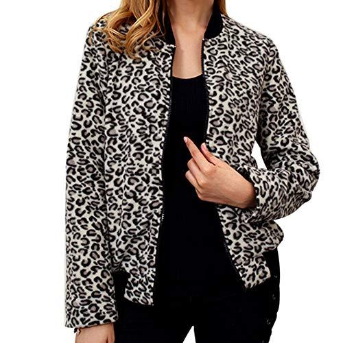 Luipaard bedrukte mantel dames Briskorry vrouwen ronde hals rits gebreide jas winter pullover casual baseball mantel streetwear trenchcoat parka outwear