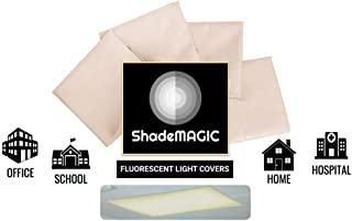 ShadeMAGIC Fluorescent Light Filter Covers (Beige) - Diffuser Pack; Eliminate Harsh Glare That Causes Eyestrain and Head Strain The The Classroom or at Office. (4)
