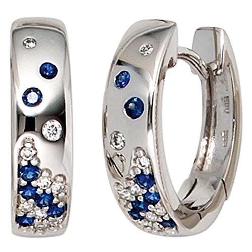 JOBO Damen-Creolen aus 585 Weißgold mit 14 Safiren und 18 Diamanten