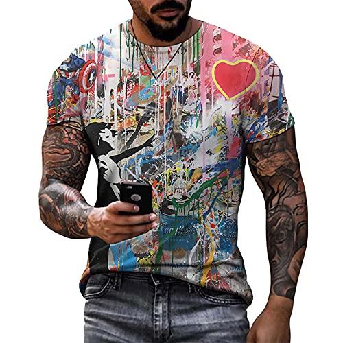 YaNanHome Estate 2021 Nuova T-Shirt da Uomo E da Donna Fresca, Regalo di Compleanno, Stampa della Nuova T-Shirt Polo O-Collo, Assorbente dal Sudore, Taglia Grande/D/XXXXL