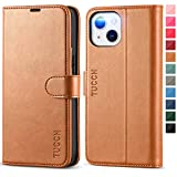 """TUCCH Case Wallet for iPhone 13 6.1-inch 5G, Protective [TPU Shockproof Inner Shell], PU Leather [RFID Blocking] [Card Holder] Magnetic Stand Cover Compatible with iPhone 13 6.1"""" 2021, Light Brown"""