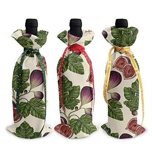 3 piezas de bolsas de cubierta de botella de vino, bolsa de asas de Navidad de higos para bodas, regalos de fiesta, Navidad, vacaciones y suministros para fiestas de vino