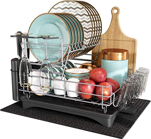 Romision 2 Tier Dish Rack and Drainboard Set, Large Capacity Dish Drying Rack Stainless Steel Fully Customizable with Utensil Holder, Cutting Board Holder and Dish Drainer for Kitchen Counter (Black)