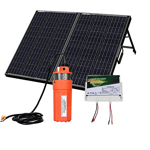 ECO-WORTHY 120W Mono Portable Solar Panel with 6Ah LiFePO4 Lithium Battery, 12V Water Pump,16ft Cable for Remote Watering, Garden Farm Irrigation, Tank Filling, Water Tower Supply