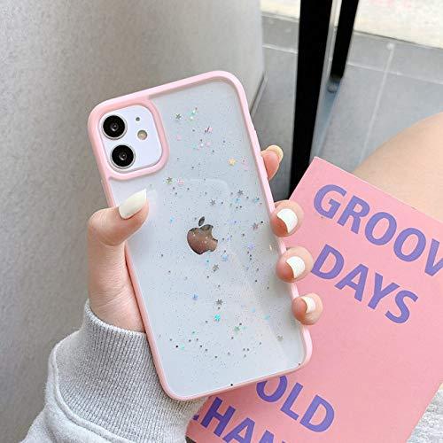 WGOUT Estuche para teléfono Star Glitter para iPhone 11 Pro MAX Back Love Heart TPU Cover para Iphone12 Pro Xsmax XR 7 6 8 Plus Mini, Rosa, para iPhone 12Mini