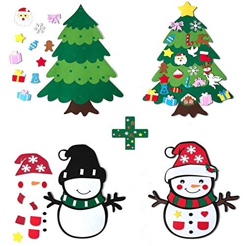 CDLong DIY Felt Christmas Tree & Snowman Set - 2 Pack Xmas Gifts for Kids - Wall Hanging Detachable Felt Christmas Tree for Toddlers