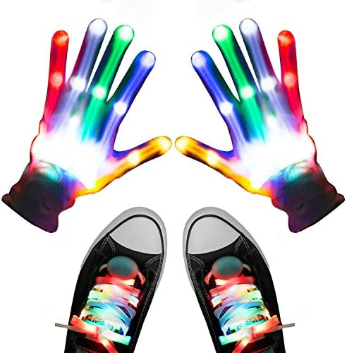 Aywewii Led Finger Gloves Led Gloves LED Shoelaces Set Light Up Toys for Boys Girls Flashing product image
