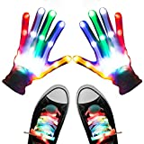 Aywewii Led Finger Gloves, Led Gloves LED Shoelaces Set Light Up Toys for Boys Girls, Flashing Gloves (White)