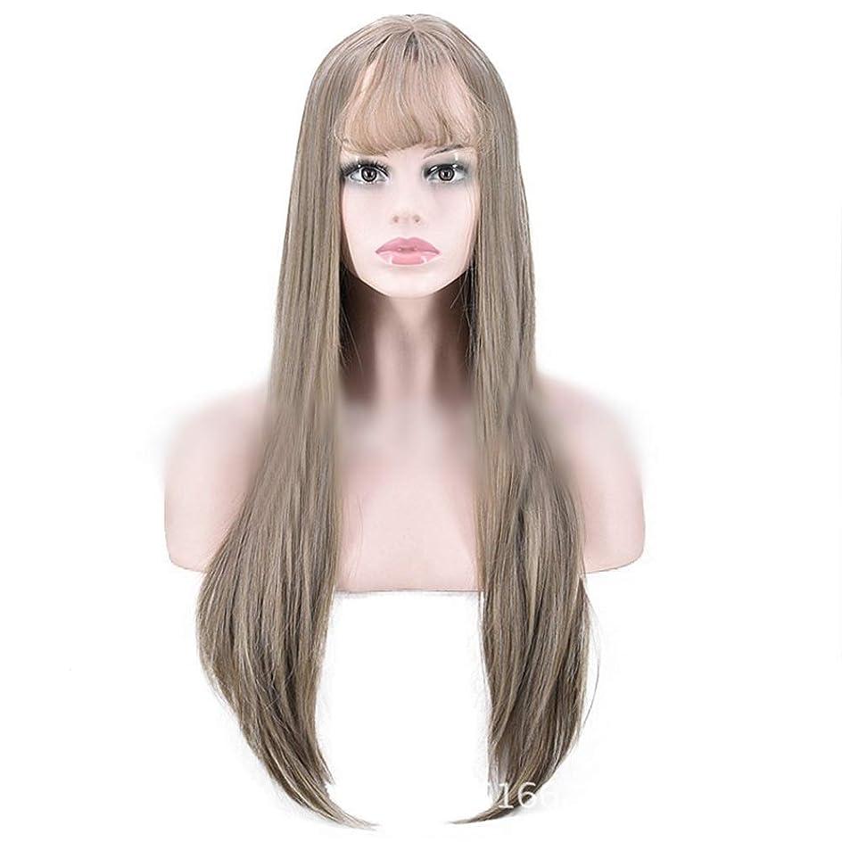 原油極端なそれからYrattary 女性のライトブラウンロングストレートヘアとともに前髪ナシヘッドナチュラルリアルなかつら合成髪レースかつらロールプレイングかつら (色 : 淡い茶色)
