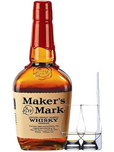 Makers Mark Red Seal Bourbon Whiskey 1,0 Liter + 2 Glencairn Gläser + Einwegpipette 1 Stück