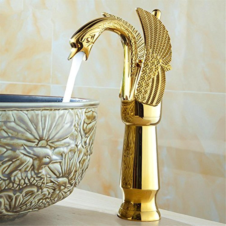 MEIBATH Waschtischarmatur Badezimmer Waschbecken Wasserhahn Küchenarmaturen Antike Warmes und Kaltes Wasser Messing antik gebürstetes Gold Küchen Wasserhahn Badarmatur
