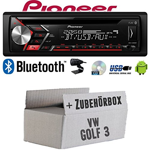 Autoradio Radio Pioneer DEH-S310BT - Bluetooth | CD | MP3 | USB | Android Einbauzubehör - Einbauset für VW Golf 3 III - JUST SOUND best choice for caraudio