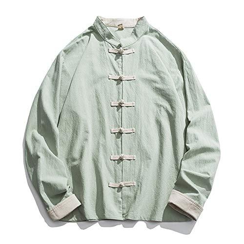 Herren Kung Fu Anzüge,Retro Chinesischen Stil Hemden Mantel Baumwoll-Leinen-Mischung Stehkragen Jacke Tang Anzug,Geeignet für Wushu Tai Chi Taekwondo(Color:hellgrün,Size:2XL)