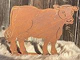Edelrost Kuh klein auf Bodenplatte 24 x 18 cm Gartendekoration Tierfigur