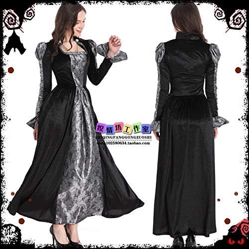 WSJDE Disfraz de Cosplay de Halloween Night Stray Soul Disfraz de Fantasma Femenino Disfraz de Bruja Vestido de fregona de Gasa Negra 1 M